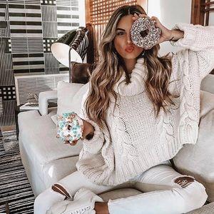 JULIA-Hand Knit Turtleneck Oversized Sweater